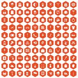 100 dress icons hexagon orange. 100 dress icons set in orange hexagon isolated vector illustration Royalty Free Stock Photography