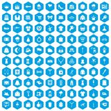 100 dress icons set blue. 100 dress icons set in blue hexagon isolated vector illustration Royalty Free Stock Photos