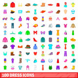 100 dress icons set, cartoon style. 100 dress icons set in cartoon style for any design vector illustration Stock Photo