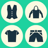 Dress Icons Set. Collection Of Trunks Cloth, Waistcoat, Casual And Other Elements. Also Includes Symbols Such As Trunks Royalty Free Stock Photography