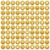 100 dress icons set gold. 100 dress icons set in gold circle isolated on white vectr illustration Royalty Free Stock Image