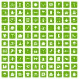 100 dress icons set grunge green. 100 dress icons set in grunge style green color isolated on white background vector illustration Stock Illustration