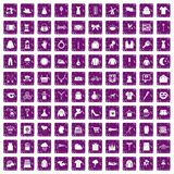 100 dress icons set grunge purple. 100 dress icons set in grunge style purple color isolated on white background vector illustration Royalty Free Stock Photos