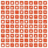 100 dress icons set grunge orange. 100 dress icons set in grunge style orange color isolated on white background vector illustration stock illustration