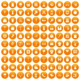 100 dress icons set orange. 100 dress icons set in orange circle isolated vector illustration vector illustration