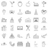 Dress icons set, outline style. Dress icons set. Outline style of 36 dress vector icons for web isolated on white background Royalty Free Stock Photo