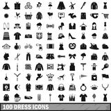 100 dress icons set, simple style. 100 dress icons set in simple style for any design vector illustration stock illustration
