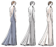 Συρμένη χέρι απεικόνιση μόδας dress long Στοκ εικόνα με δικαίωμα ελεύθερης χρήσης