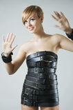 Dress made from leather belts Stock Photos