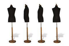 DRESS MAKER'S DUMMY. Four dress maker's dummy on white background Stock Images