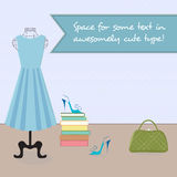 Dress on mannequin, shoes, handbag in a room Stock Image