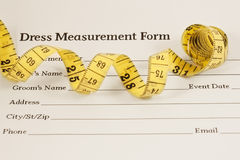 Dress Measurement Form and Measure tape Stock Photography