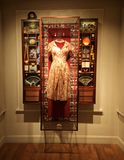 Dress in the museum of innocence. Istanbul, Turkey, 05/19/2018, Showcase in the museum of innocence stock photos