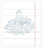 Dress  of notebook paper doodles. Royalty Free Stock Photography