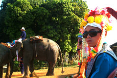 Dress of Novice in Si Satchanalai Elephant Back Ordination Proce Stock Photo