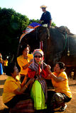 Dress of Novice in Si Satchanalai Elephant Back Ordination Proce Stock Photos