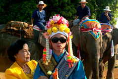 Dress of Novice in Si Satchanalai Elephant Back Ordination Proce. SUKHOTHAI ,THAILAND-APRIL 7 : Dress of young candidates before a spectacular procession begin stock images