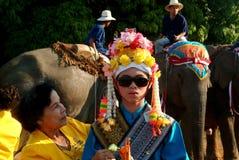 Dress of Novice in Si Satchanalai Elephant Back Ordination Proce stock images