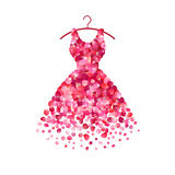 Dress of pink rose petals. Vector icon Stock Photos