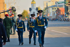 Dress rehearsal of the military parade in honor of Victory Day. Stock Photo
