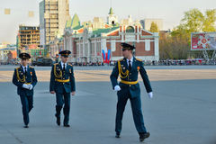 Dress rehearsal of the military parade in honor of Victory Day. Royalty Free Stock Photography