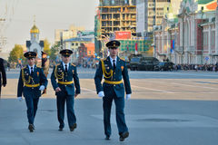 Dress rehearsal of the military parade in honor of Victory Day. Royalty Free Stock Photo