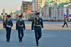 Dress rehearsal of the military parade in honor of Victory Day. Stock Photos