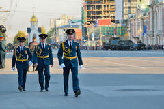 Dress rehearsal of the military parade in honor of Victory Day. Royalty Free Stock Images