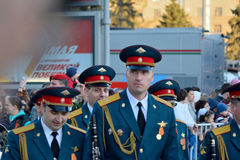 Dress rehearsal of the military parade in honor of Victory Day. Royalty Free Stock Photos