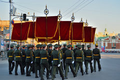 Dress rehearsal of the military parade in honor of Victory Day. Stock Images