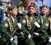 Dress rehearsal of parade in honor of Victory Day on red square on 7 may 2017. The cadets of the Moscow higher military command sc Royalty Free Stock Photo