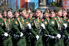 Dress rehearsal of parade in honor of Victory Day on red square on 7 may 2017. The cadets of the Moscow higher military command sc Royalty Free Stock Photography