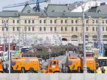 A dress rehearsal for the Victory Day parade Royalty Free Stock Images
