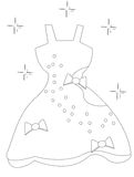 Dress with ribbons coloring page. Useful as coloring book for kids Stock Photography
