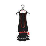 Dress of the 20s. Ball gown female black in vintage style 1920`s on a hanger. Retro fashion vector illustration isolated on white background Royalty Free Stock Images