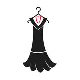 Dress of the 20s. Ball gown female black in vintage style 1920`s on a hanger. Retro fashion vector illustration isolated on white background Royalty Free Stock Photos