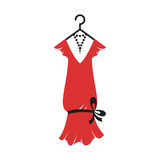 Dress of the 20s. Ball gown female red in vintage style 1920`s on a hanger. Retro fashion vector illustration isolated on white background Royalty Free Stock Photography