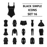 Dress, sarafan, coats of women`s clothing. Women`s clothing set collection icons in black style vector symbol stock Stock Photos