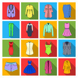 Dress, sarafan, coats of women`s clothing. Women`s clothing set collection icons in flat style vector symbol stock Stock Photos