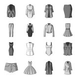 Dress, sarafan, coats of women`s clothing. Women`s clothing set collection icons in monochrome style vector symbol stock Stock Images