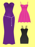 Dress. Set of evening dresses of different styles Stock Photos