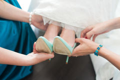 Dress shoes for the bride royalty free stock image