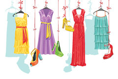 Dress and shoes.Fashion Illustration Stock Photo