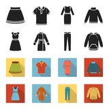 Dress with short sleeves, trousers, coats, raglan.Clothing set collection icons in black,flet style vector symbol stock. Illustration Stock Photo