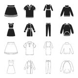 Dress with short sleeves, trousers, coats, raglan.Clothing set collection icons in black,outline style vector symbol. Stock illustration Stock Photos