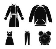 Dress with short sleeves, trousers, coats, raglan.Clothing set collection icons in black style vector symbol stock. Illustration Stock Image