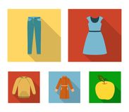 Dress with short sleeves, trousers, coats, raglan.Clothing set collection icons in flat style vector symbol stock. Illustration Royalty Free Stock Image