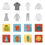 Dress with short sleeves, trousers, coats, raglan.Clothing set collection icons in monochrome,flat style vector symbol. Stock illustration Royalty Free Stock Photography