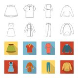 Dress with short sleeves, trousers, coats, raglan.Clothing set collection icons in outline,flet style vector symbol. Stock illustration Stock Photo