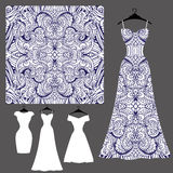 Dress silhouette with tribal linear seamless pattern royalty free illustration